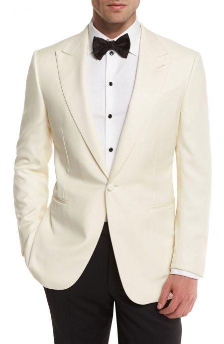 Off-white dinner jacket for men, full front view.