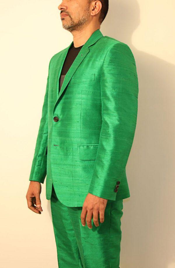 Mens silk suit in 100% dupioni silk jacket side view.