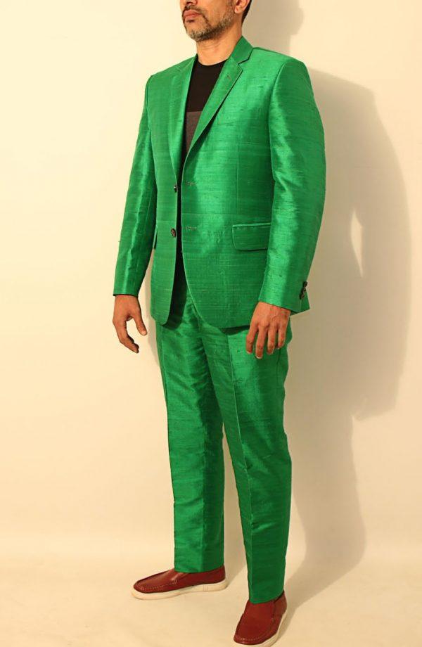 Mens silk suit in 100% dupioni silk full side view.