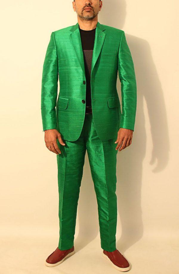 Mens silk suit in 100% dupioni silk.