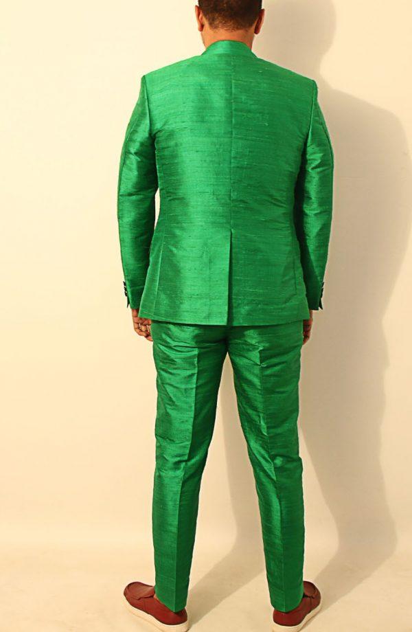 Mens silk suit in 100% dupioni silk full back view.