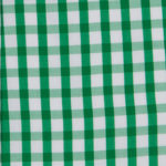 100% poplin cotton in an emerald gingham pattern ideal for shirts, dresses, skirts, pants, and unstructured blazers.