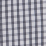 100% poplin cotton in a slate gingham pattern ideal for shirts, dresses, skirts, pants, and unstructured blazers.