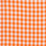 100% poplin cotton in a tiger gingham pattern ideal for shirts, dresses, skirts, pants, and unstructured blazers.