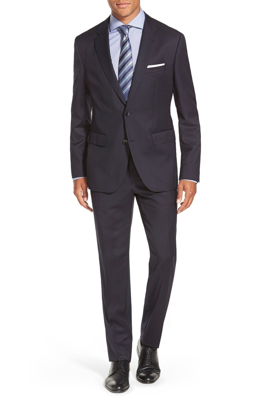 Mens 2 button solid navy wool suit full front view.