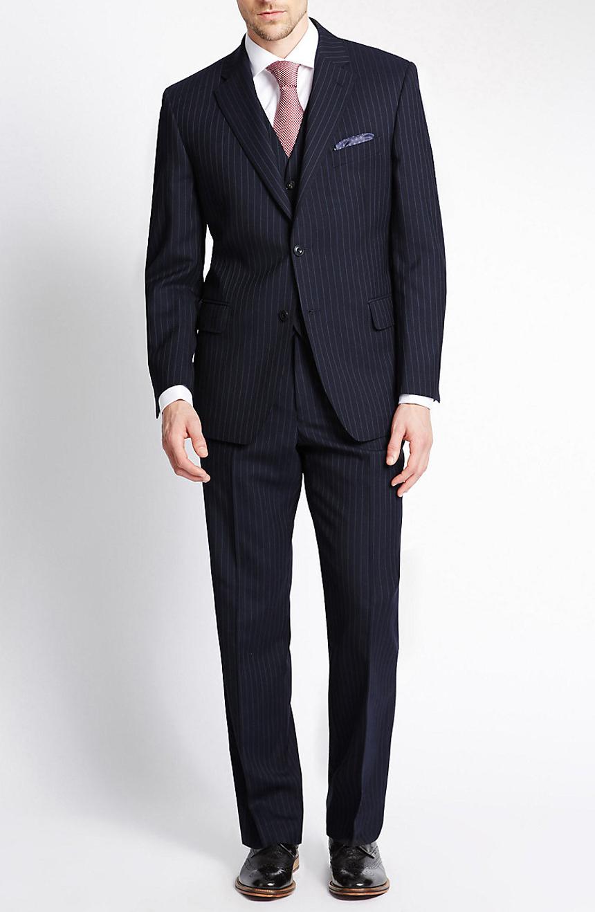 Navy blue pinstripe three-piece suit.