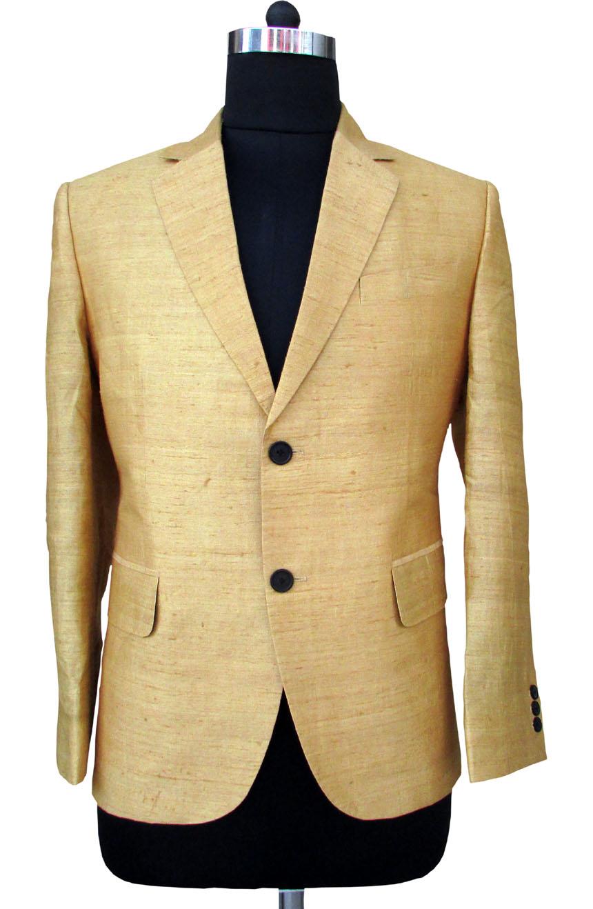 Mens silk blazer in 100% dupioni silk.
