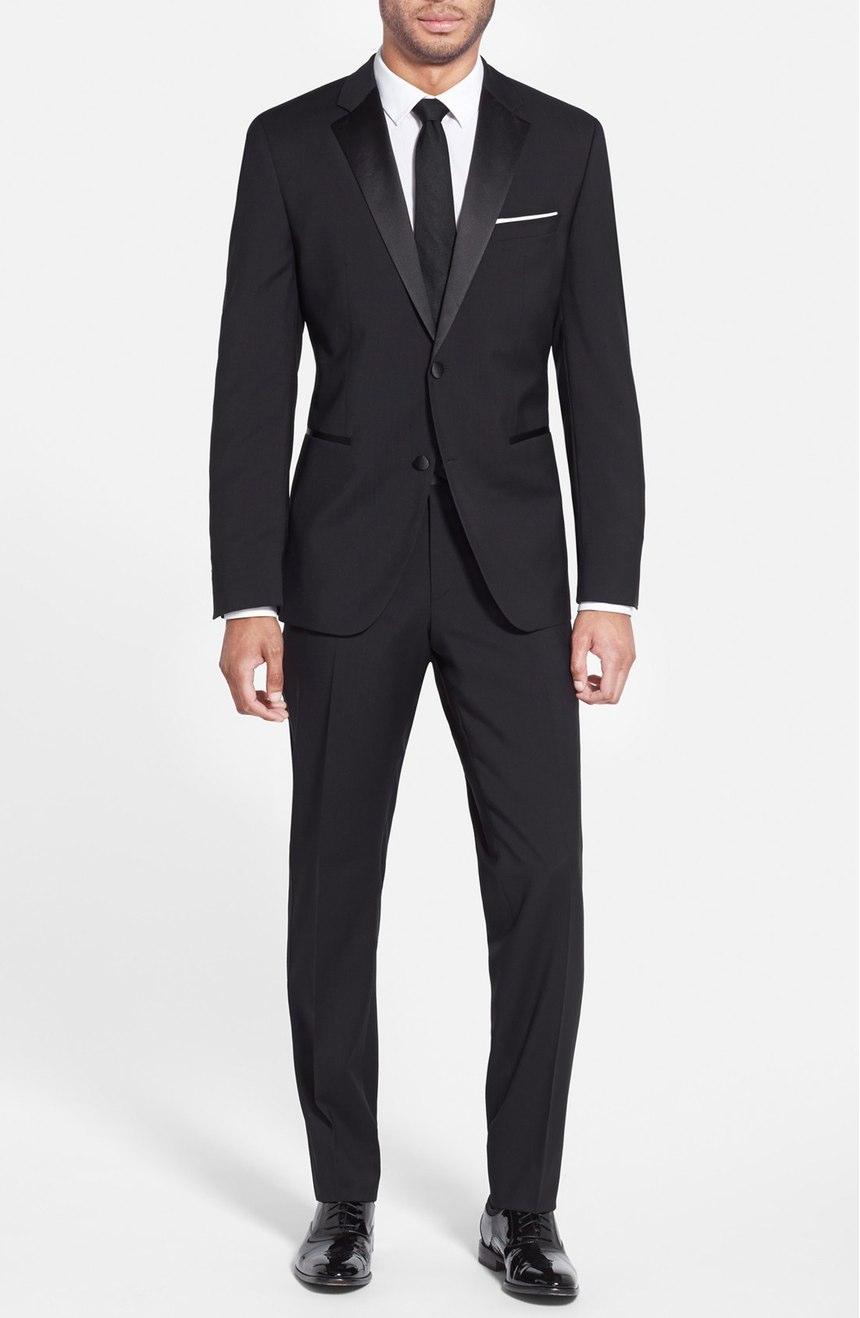 Mens black mohair tuxedo custom-made, full front view.