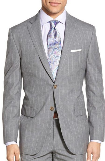 Mens gray pinstripe jacket with white stripes and notch lapels. Jacket