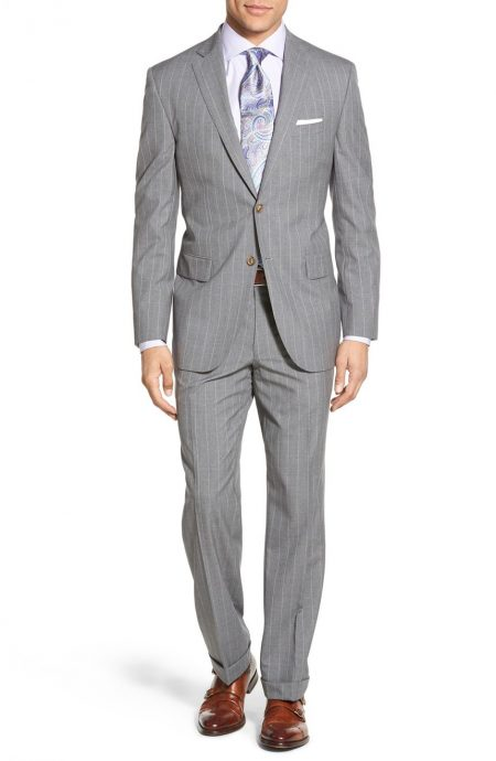 Gray pinstripe suit full front view.