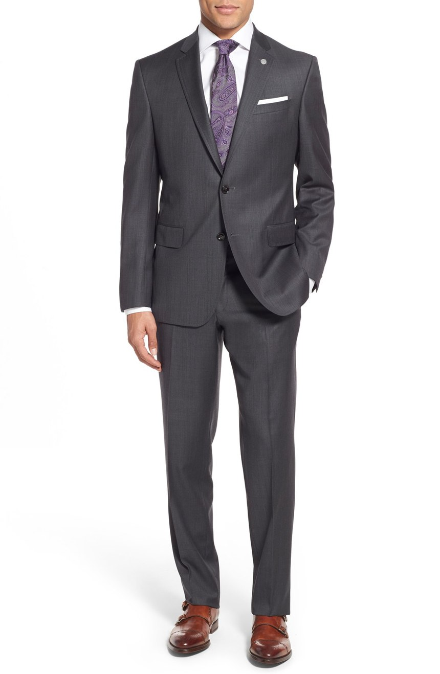 Mens merino wool & cashmere blend suit full front view.