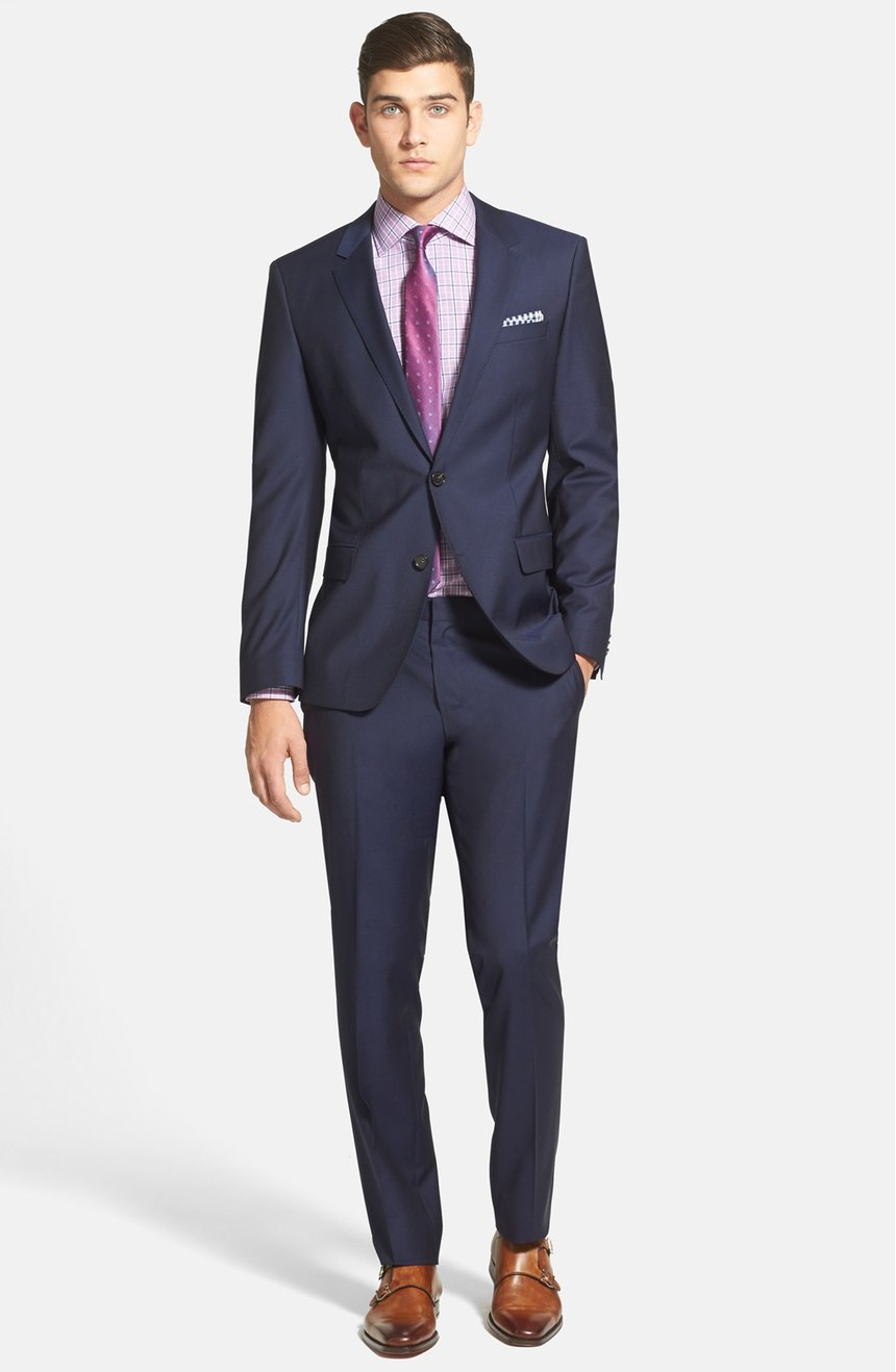 Mens mohair wool suit in navy. Full front view.