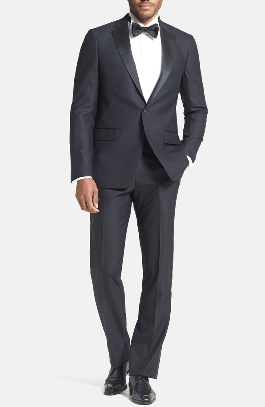 Single-breasted one-button notch lapel custom-made tuxedo. Full front view.