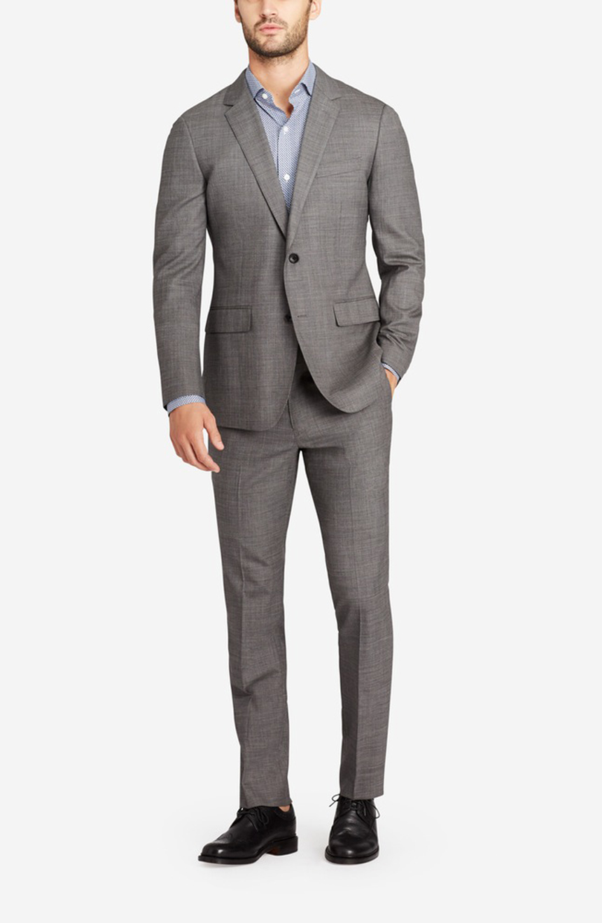 Mens pure new wool suit in light grey. A full front view.