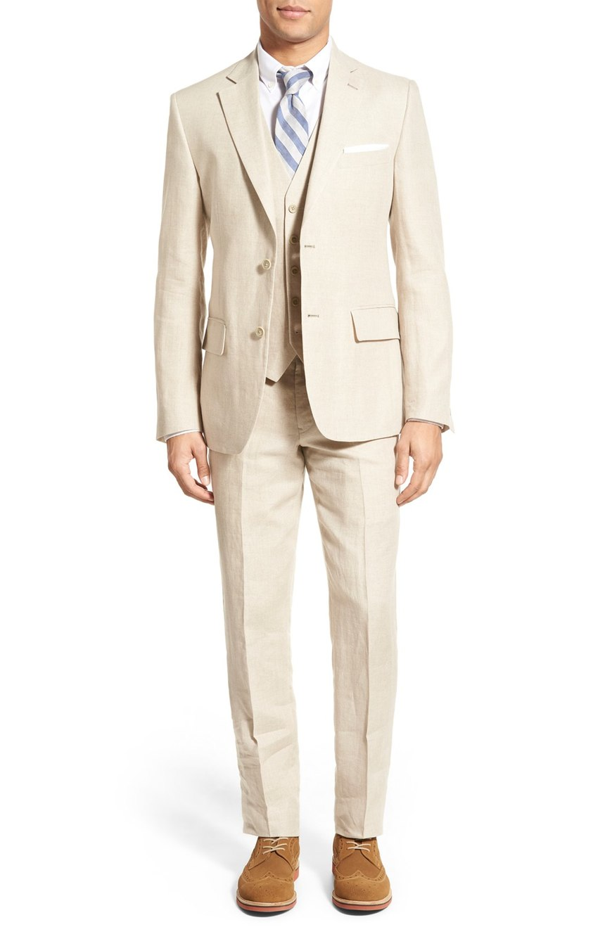 Wedding party linen suit with vest.
