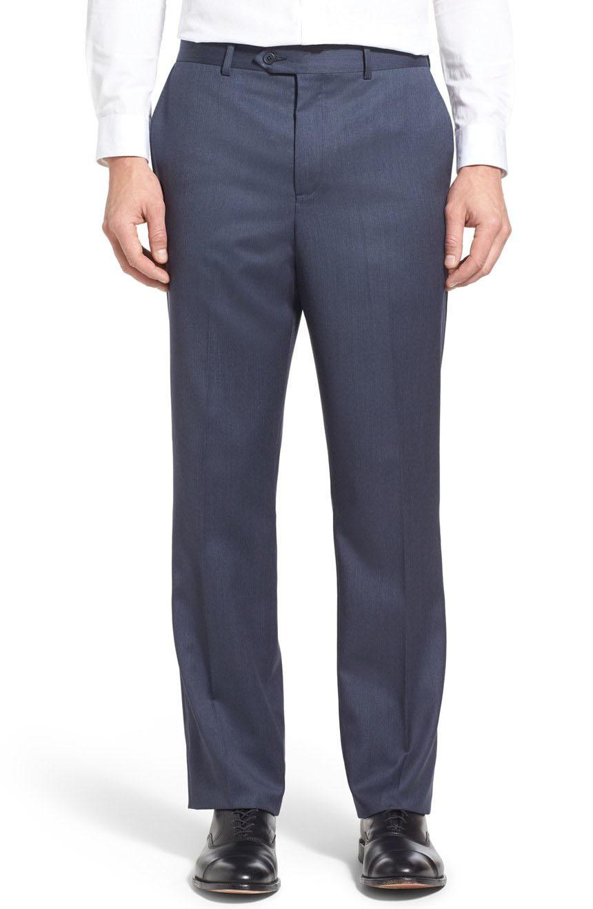 All season wool dress pants for men in flat-front styling