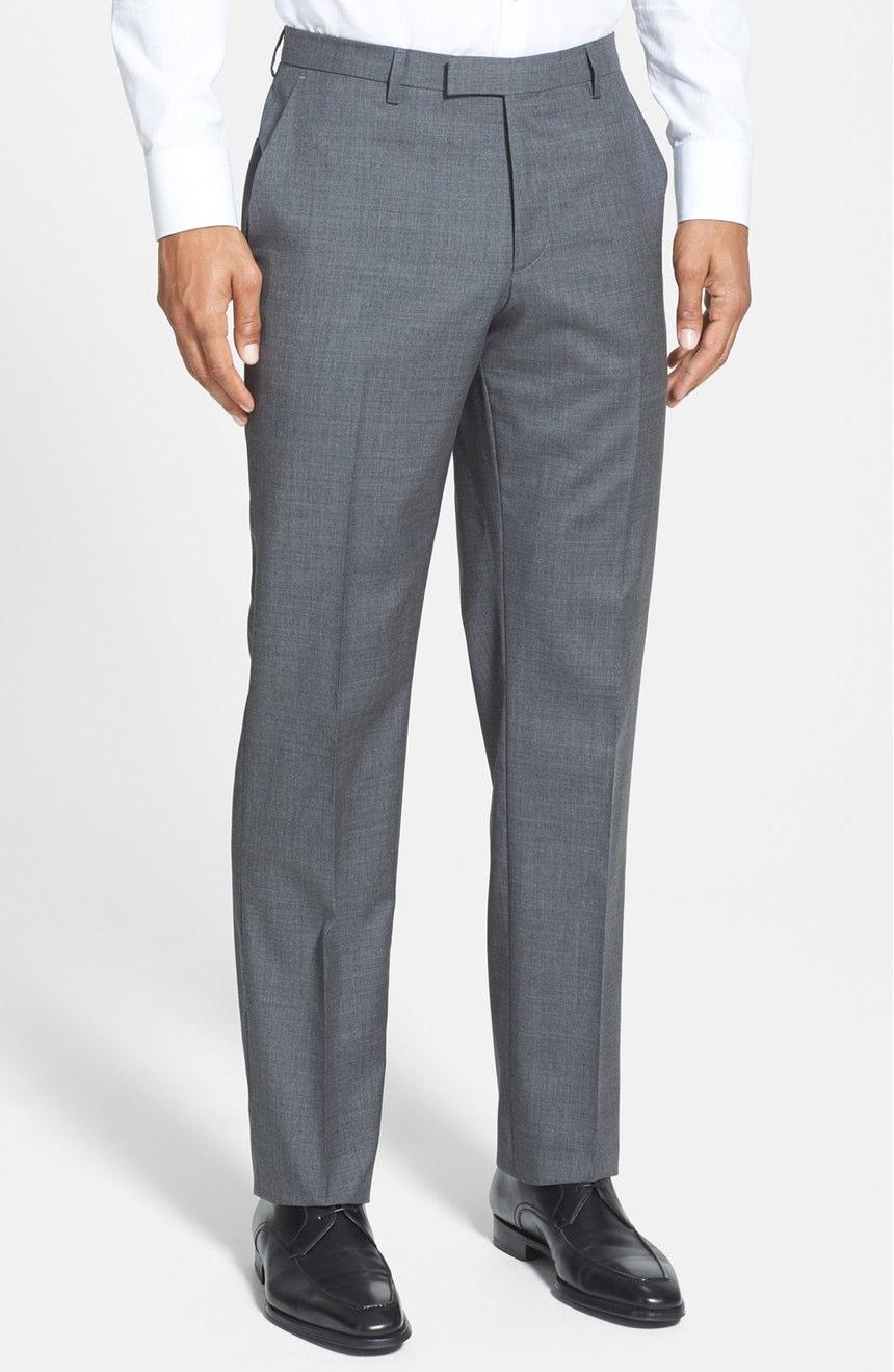 Flat front gray mohair pants trouser for men
