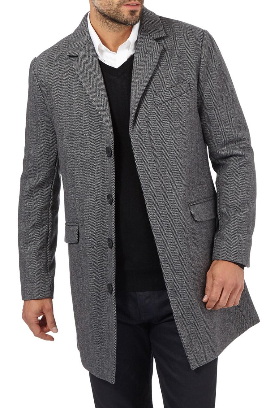 men's wool herringbone topcoat in grey