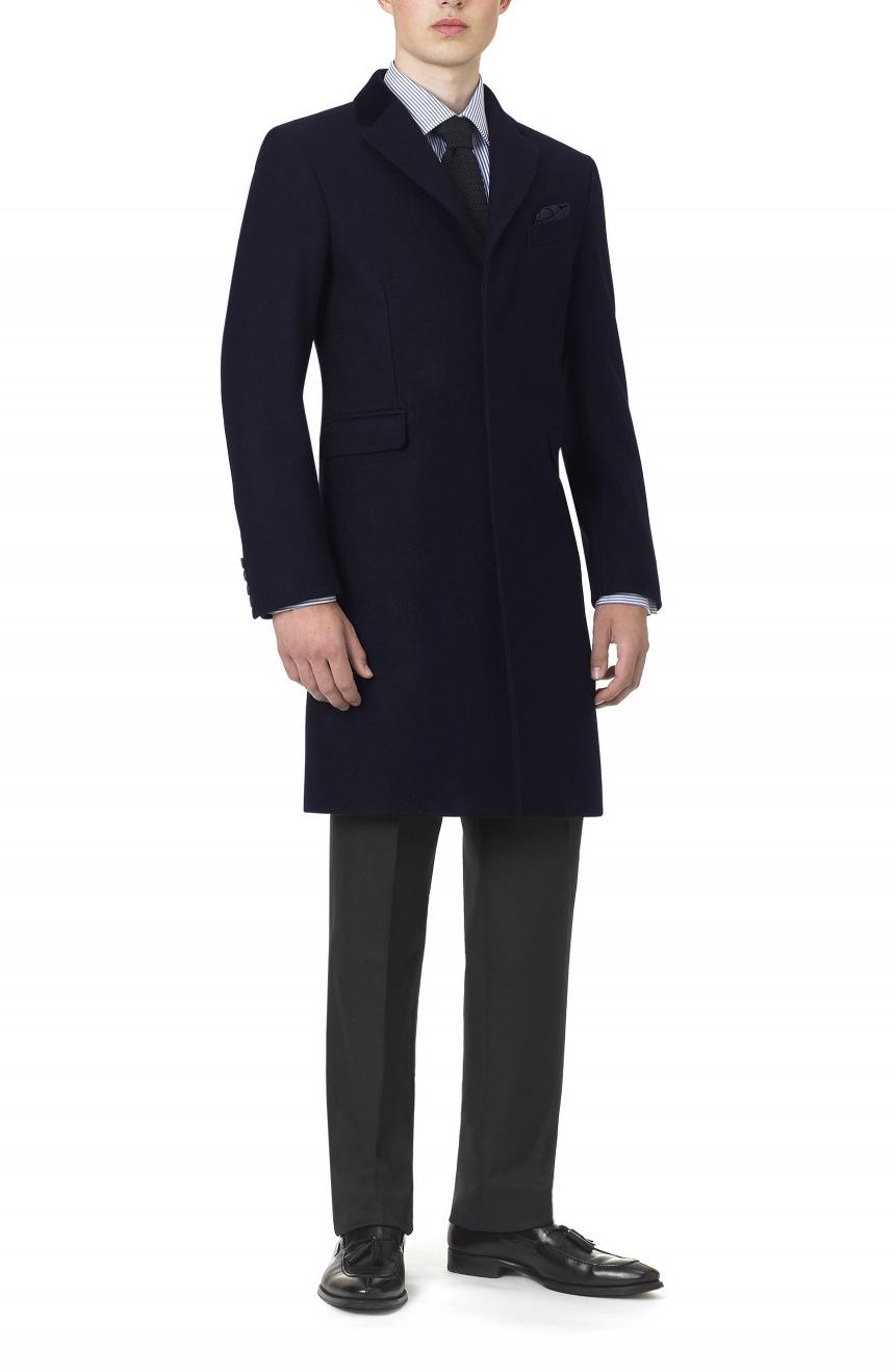 Men's Navy Topcoat With Velvet Collar
