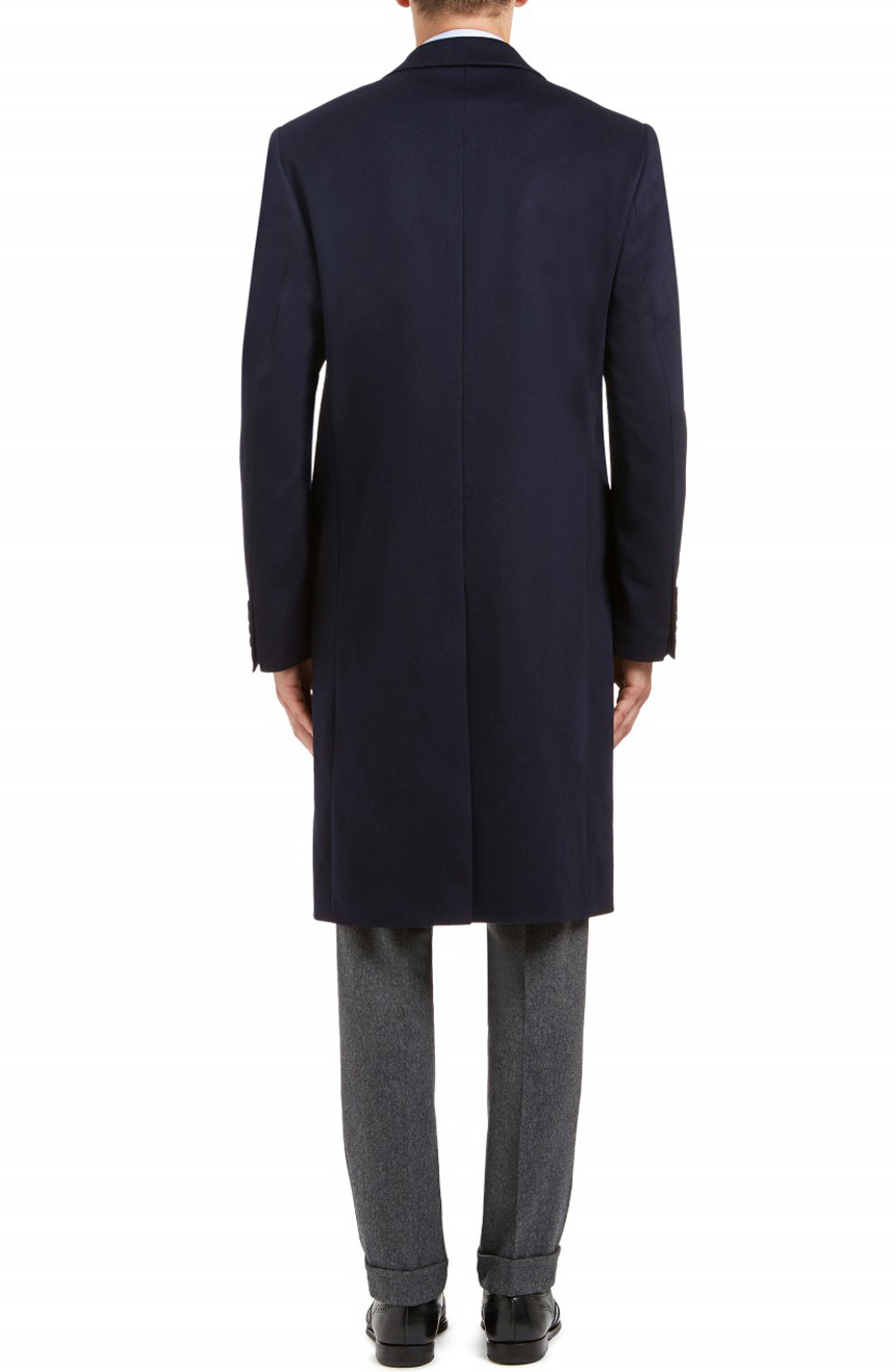 men's navy wool cashmere topcoat full back view