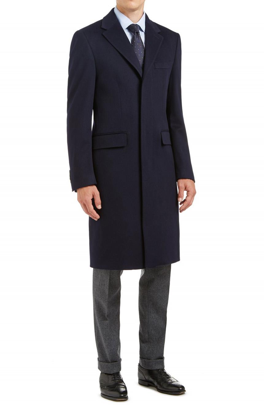 men's navy wool cashmere topcoat