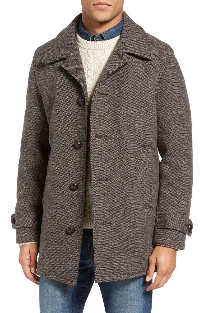 Herringbone Car Coat in Tweed Wool