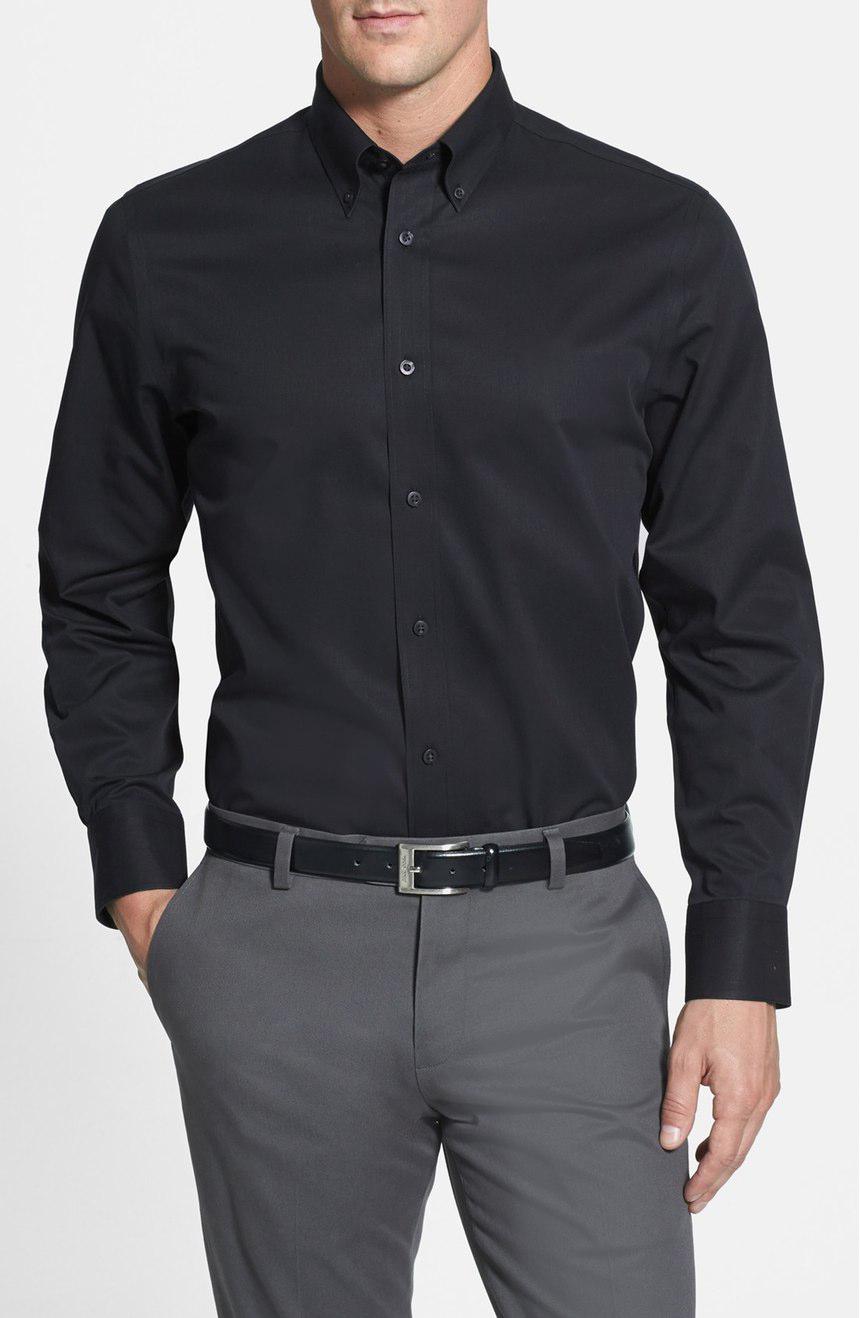 Black twill shirt.