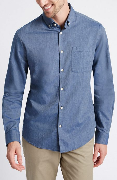 Blue Egyptian cotton dress shirts.