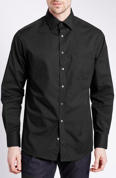 Egyptian cotton black dress shirts.