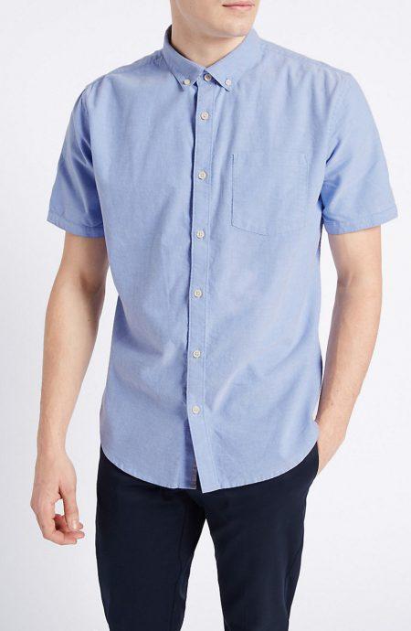 Light blue short sleeve Oxford shirt for men.