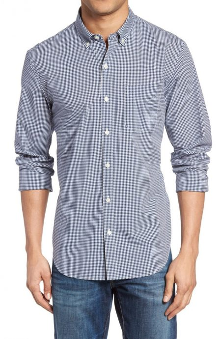 Mens blue gingham shirt.