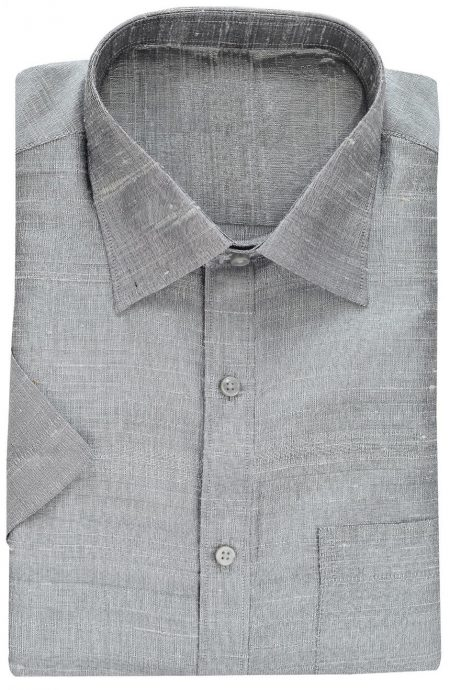 Gray raw silk shirt.