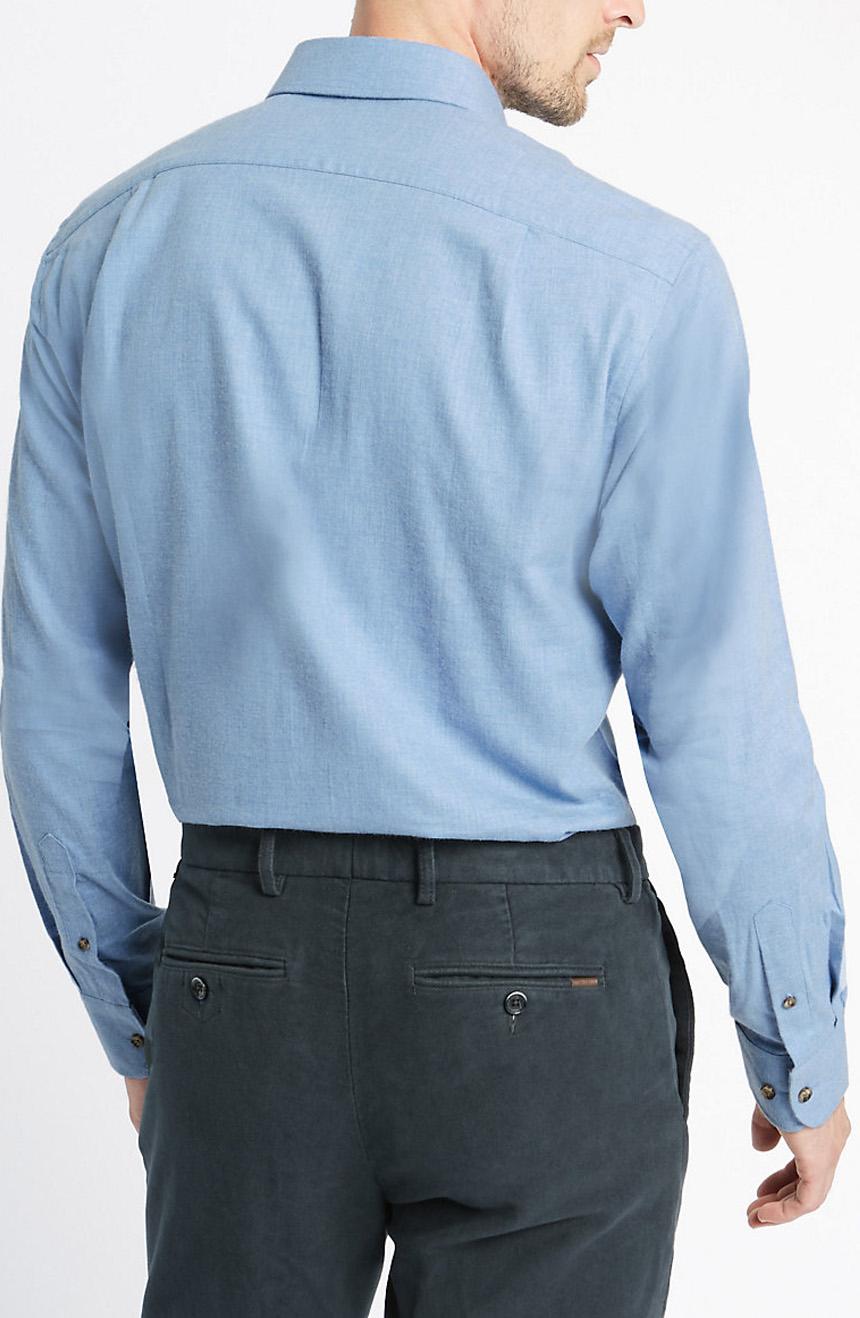 Men's Twill Dress Shirts full back view.