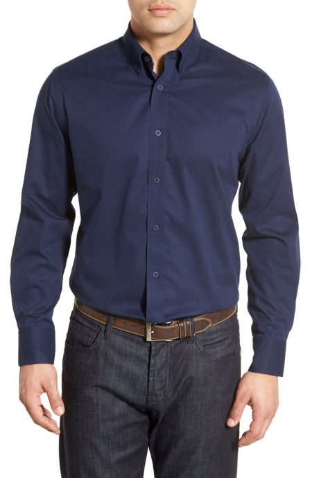Button-down navy twill shirt for men.