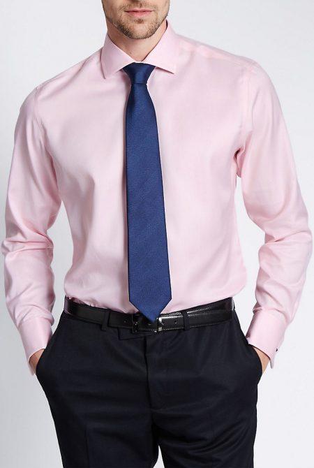 Pink oxford shirt.