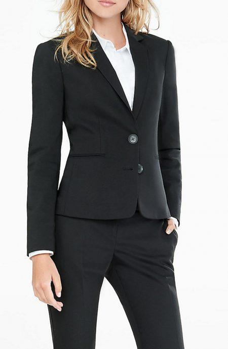 Black suit for women.