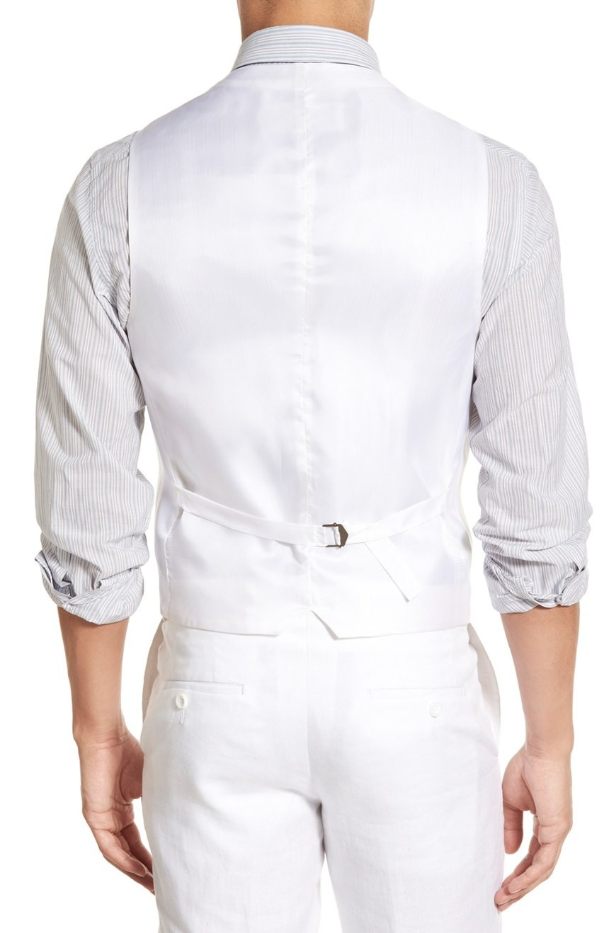 Men's linen vest tailored for the wedding full back view.