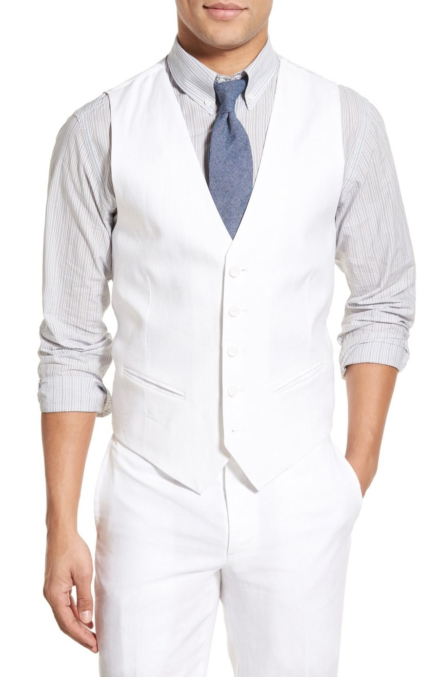 Men's linen vest tailored for the wedding.
