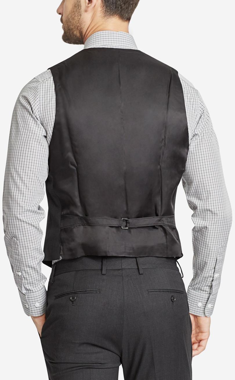 Men's wool dress vest full back view.
