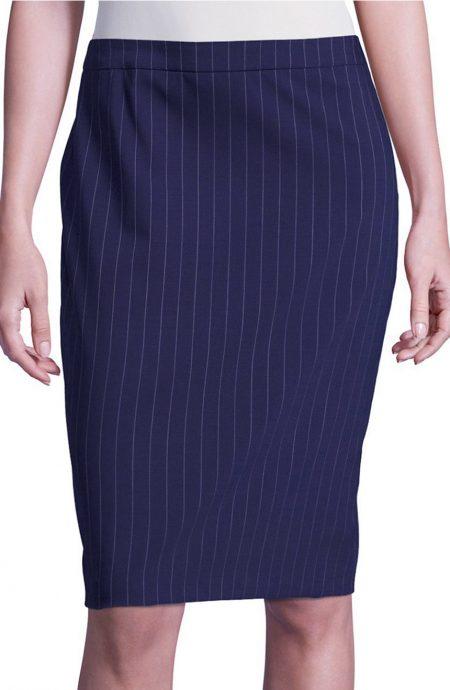 Navy blue striped skirt for women.