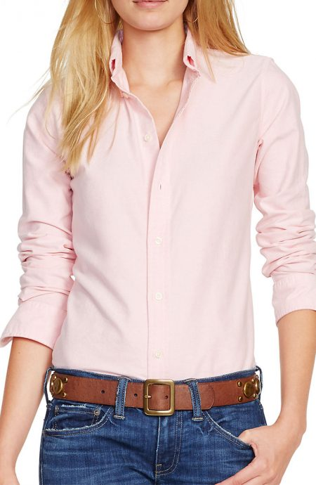 Pink oxford shirt womens with long sleeves and button down collar.