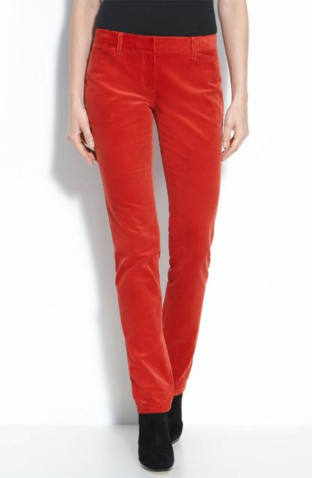Red velvet mid rise womens skinny pants with pockets.