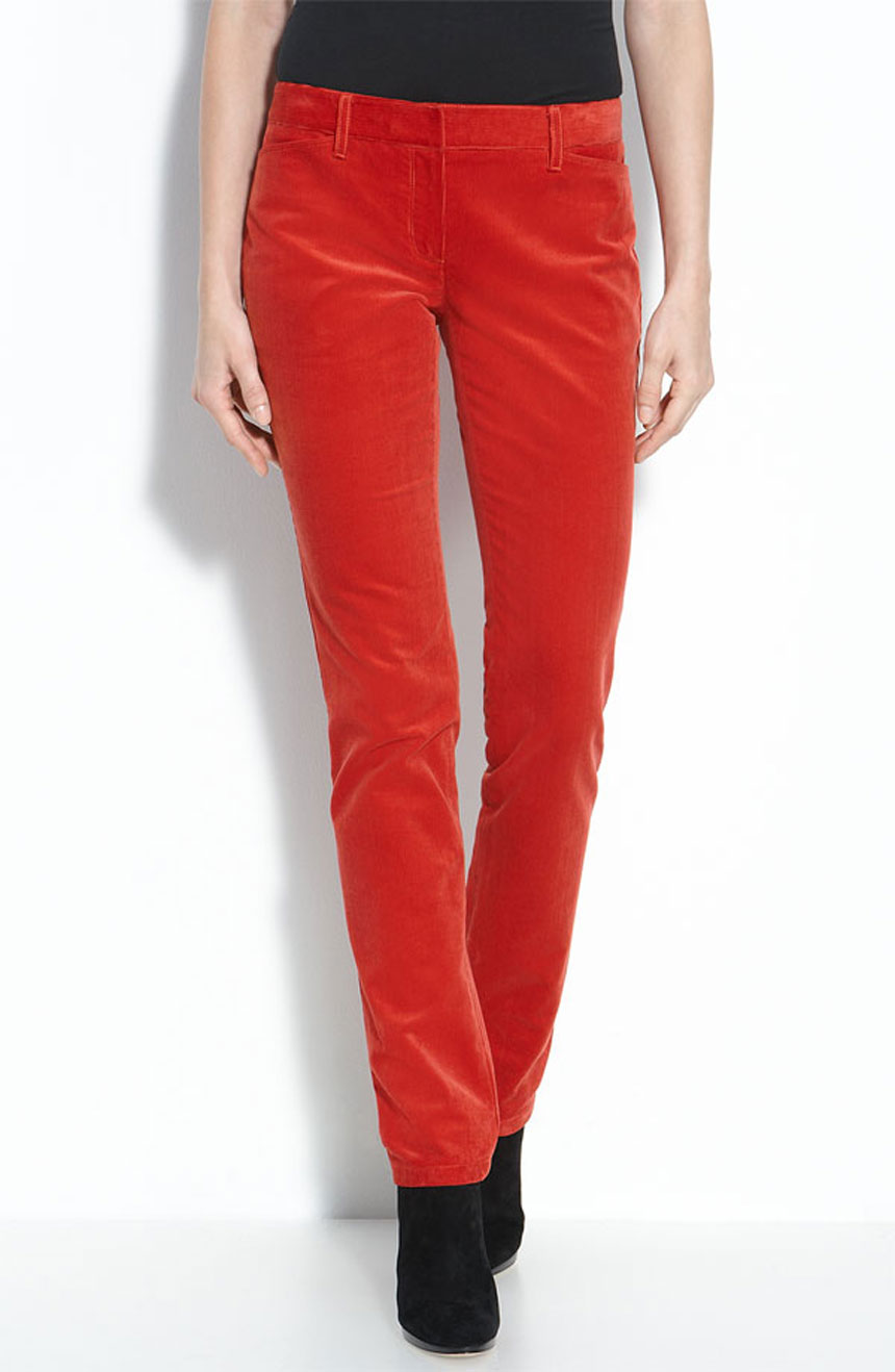 Red velvet mid-rise womens skinny pants with pockets.