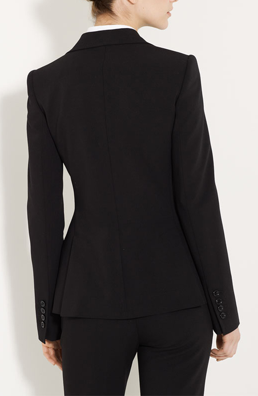 Tailored womens suits back view.