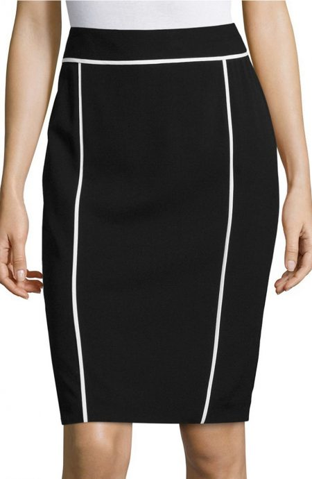 Womens black pencil skirt with white trim.