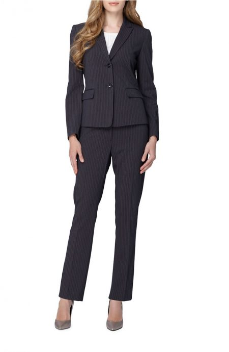 Womens business suit in pinstripe for a power look.