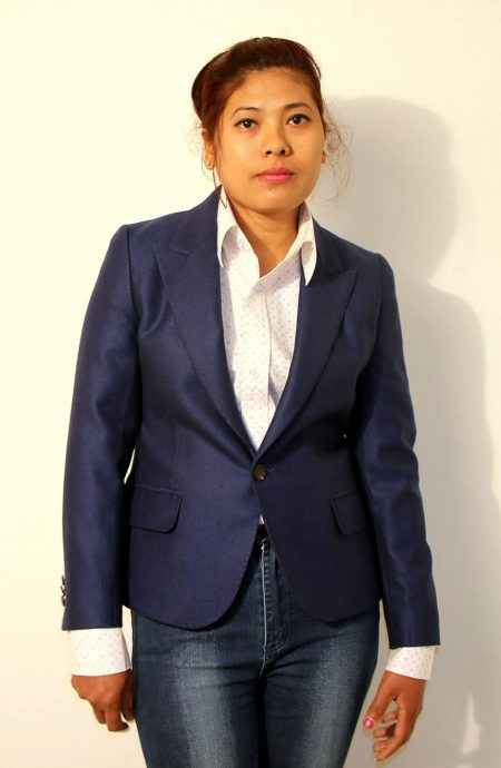 Womens fitted blazer tailored from the finest wool.
