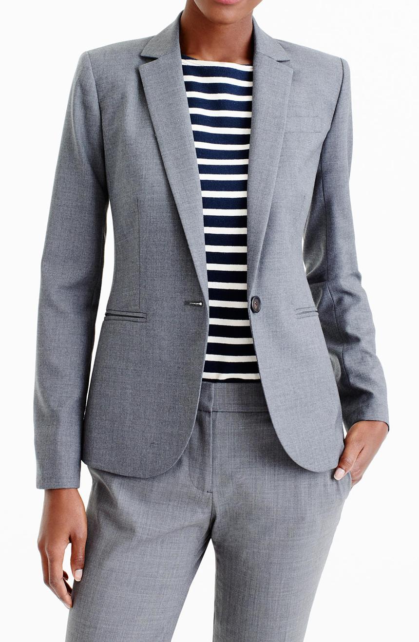 Womens fresco wool suit jacket view.