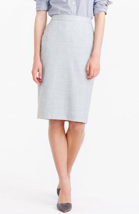 Womens high waisted knee length pencil skirt.