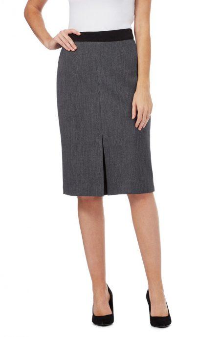 Womens kick pleat skirt with contrast waistband.